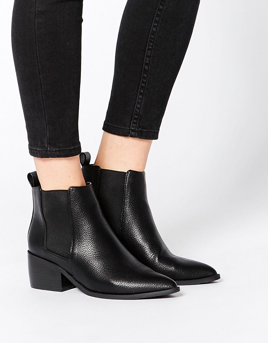 Womens Faux Pointy Toe Low-Heel Black Short Ankle Bootie Chelsea Boots