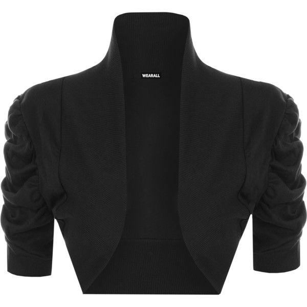 Shelly Plain Ruched Shrug (£11) ❤ liked on Polyvore featuring plus size women's fashion, plus size clothing, plus size outerwear, black, cardigan shrug, plus size shrug, shrug cardigan and cotton shrug
