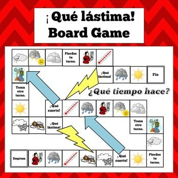 Spanish Weather Expressions Board Game - ¡Qué lástima | Spanish ...