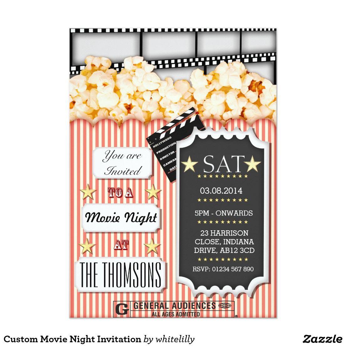Custom movie night invitation movie night