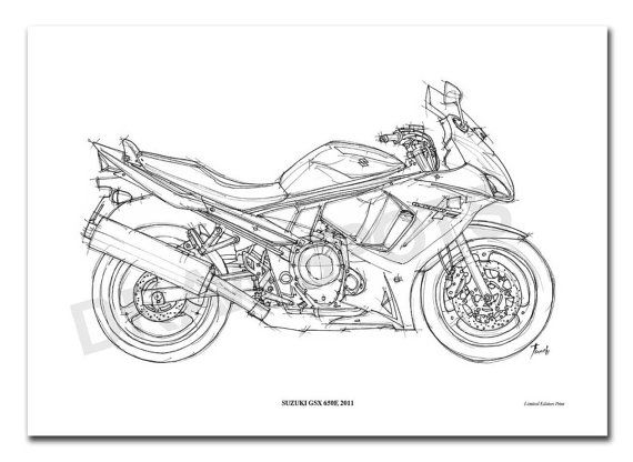 SUZUKI GSX 650F 2011 Original Handmade Drawing Print by