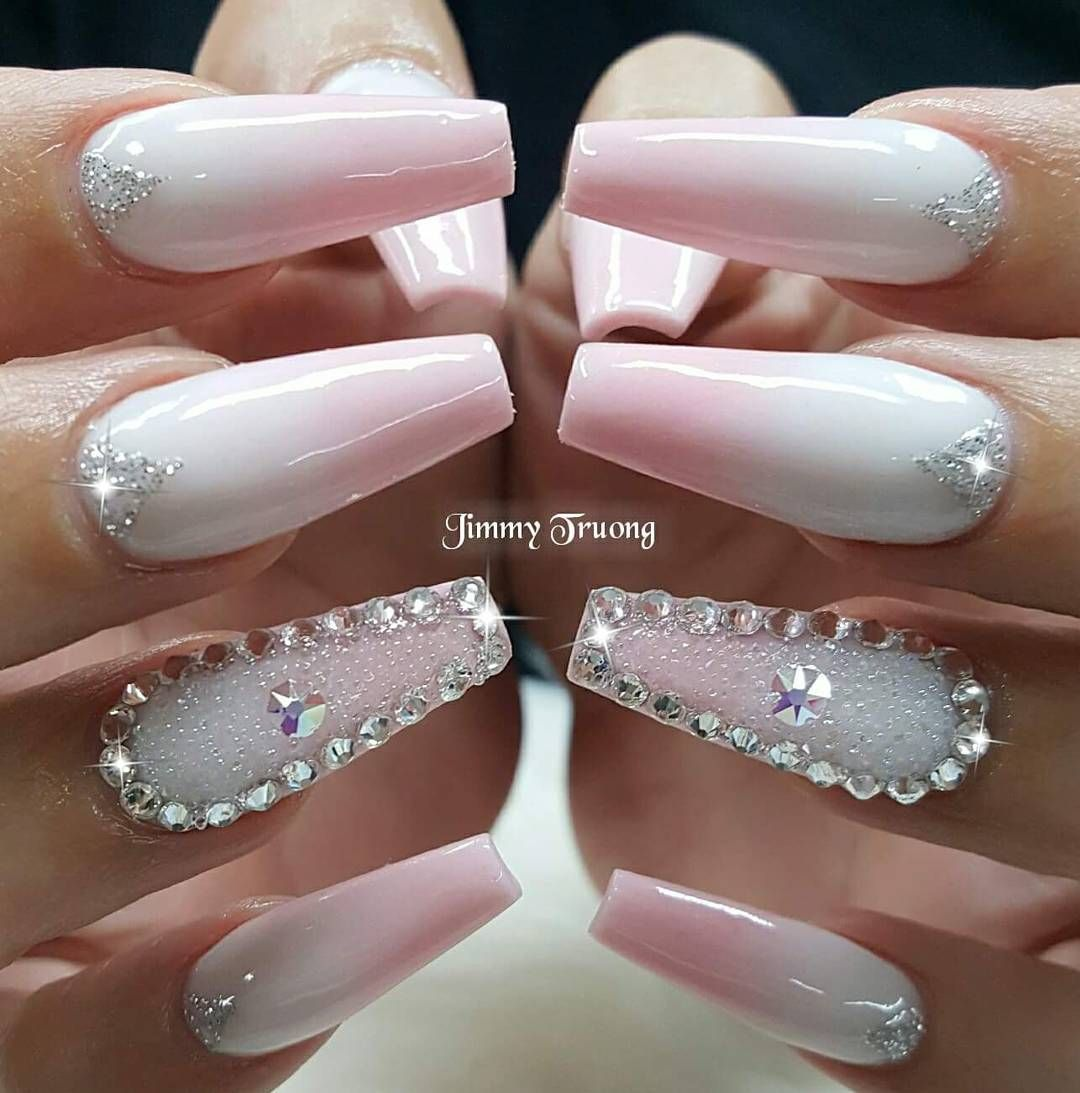 I Like The Ombre Nails And Rhinestones On These Pink Nails I M Not A Fan Of Angling The Tips Pink Gel Nails Nails Design With Rhinestones Rhinestone Nails