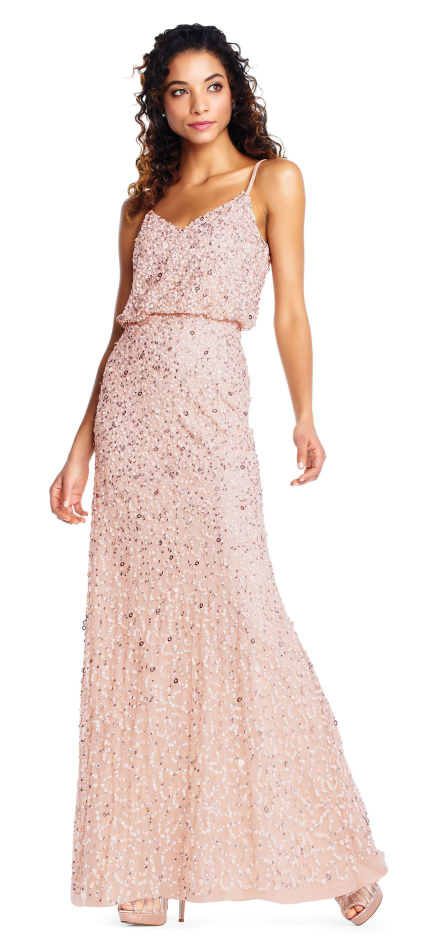 3b2fc8a7ad2 Sequin Beaded Blouson Gown with Spaghetti Straps