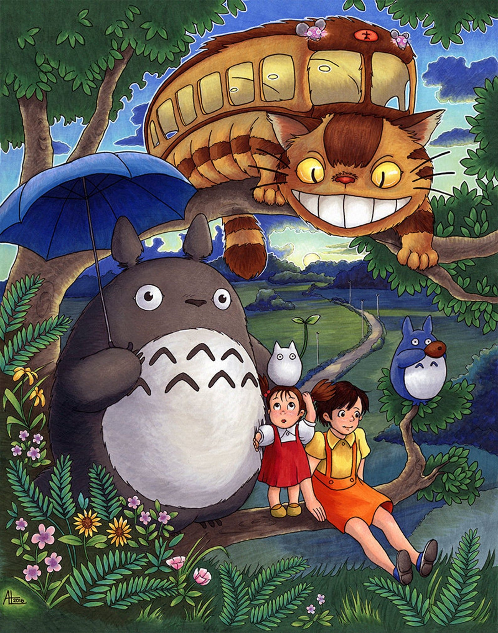 Totoro Art Print 11x14 My Neighbor Totoro Illustration by