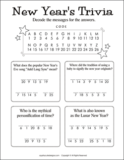 new years trivia for kids new years activities for kids party games puzzles decode a message game we also have new years coloring pages