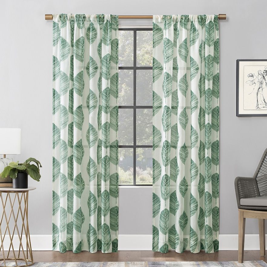 Scott Living 1 Panel Angelou Leaf Textured Sheer Window Curtain Panel Curtains Rod Pocket Curtain Panels Rod Pocket Curtains