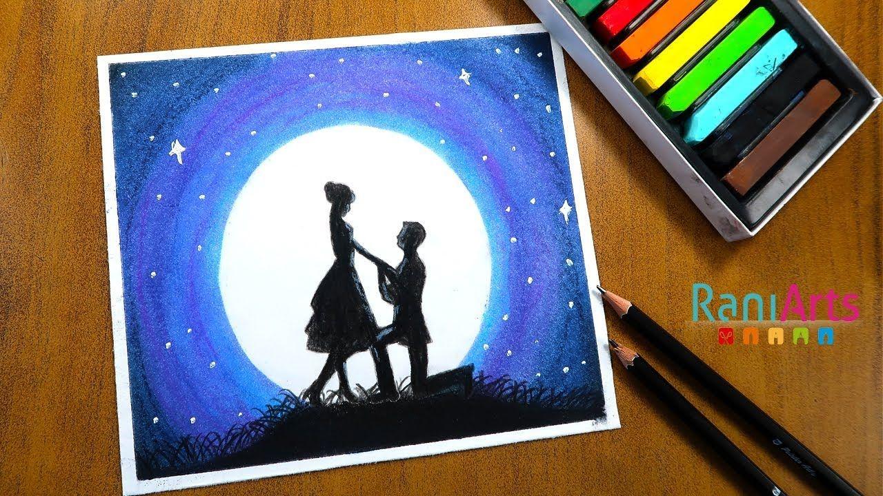 Como Dibujar Paisaje A La Luz De Luna Con Pastel Seco How To Draw Moon Tablet