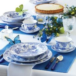 blue and white setting with flutterby accents