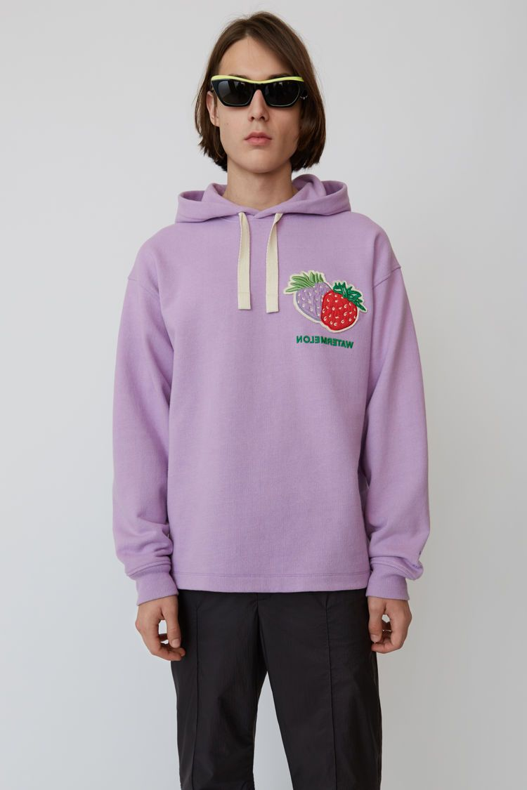 Acne Studios lavender purple oversized, hooded sweatshirt