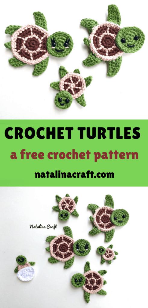 Crochet Turtle Appliques #crochetturtles