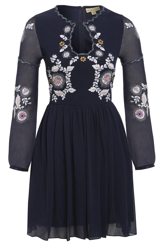 Zarina floral embroidered skater dress front asos pinterest