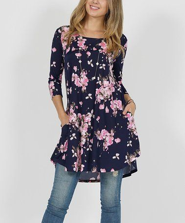 3c211faf Loving this Navy Floral Pocket Swing Tunic - Plus on #zulily! #zulilyfinds