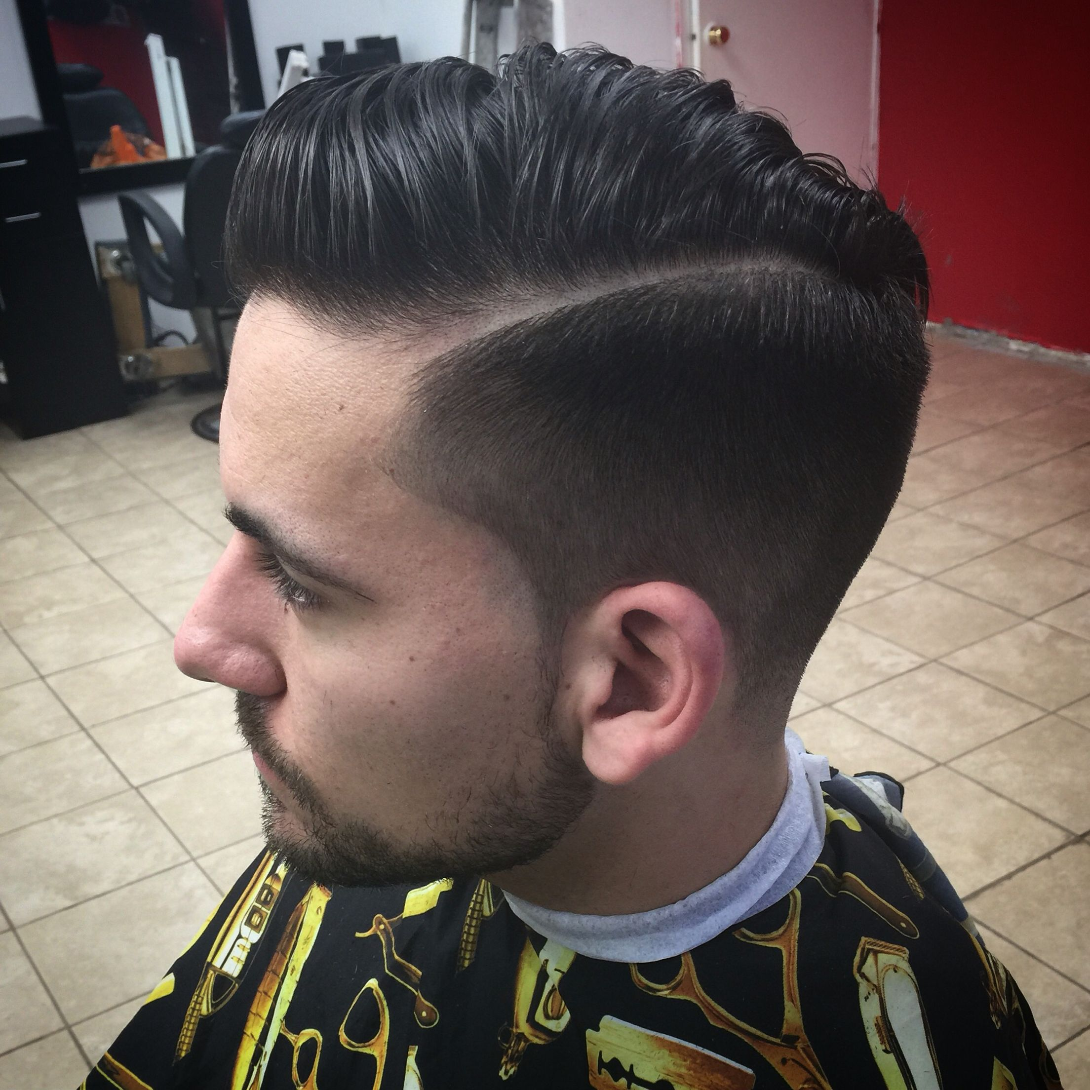 Combover With Light Fade Hard Part And Tapper Back Hair Cuts