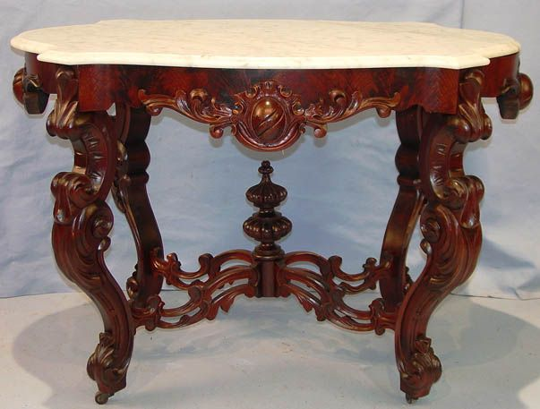 Dark Walnut Victorian Rococo Revival Center Marble Top Table.