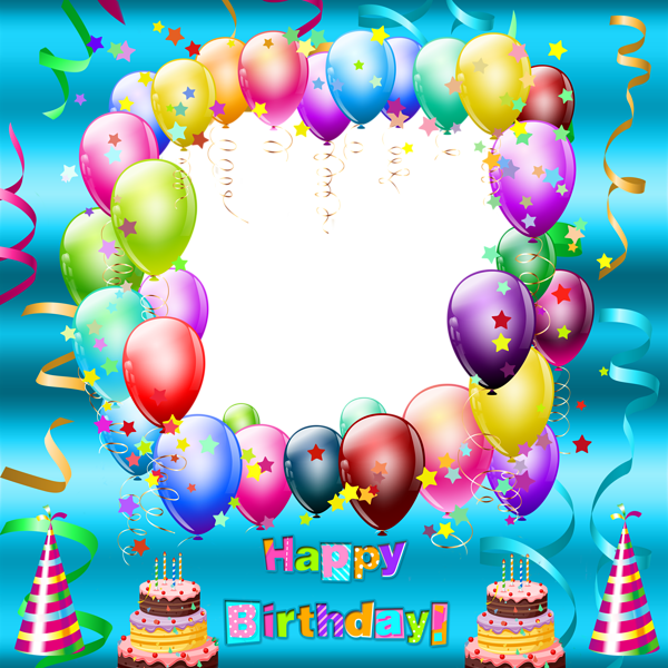 Happy Birthday Transparent Blue Frame | Pictures and Gif | Pinterest ...