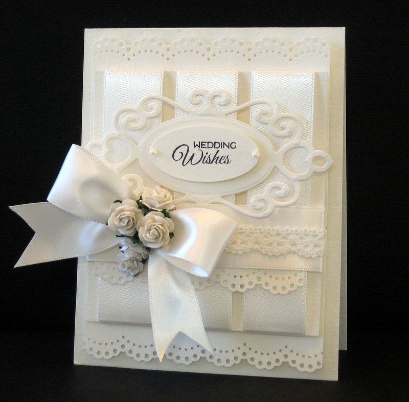 Stamps: Verve Sentiment Paper: Paper Source Luxe White Ink: Memento Black Accessories: Paper Source Soft White Ribbon, Wild Orchid Flowers, Martha Stewart Border Punch, Spellbinders Fancy Tag Die, SU Oval Punch, pearls, Paper Source lace Tape