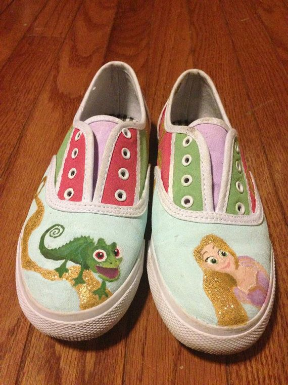 08fe4d06c9a Disney s Tangled Inspired Rapunzel Painted Shoes on Etsy