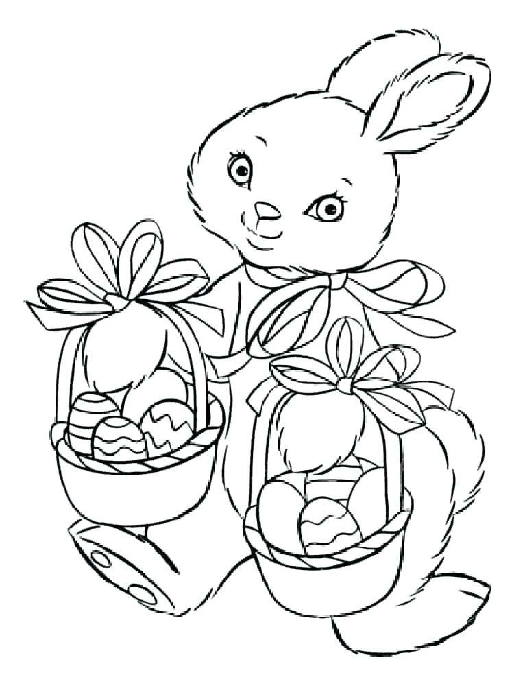 Easter Bunny And Baskets Free Color Page Easter Coloring Pages