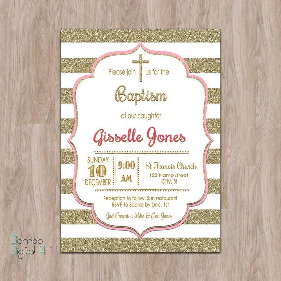pink and gold baptism invitation, Baptism Invitation Girl, Baptism - invitation for baptism girl
