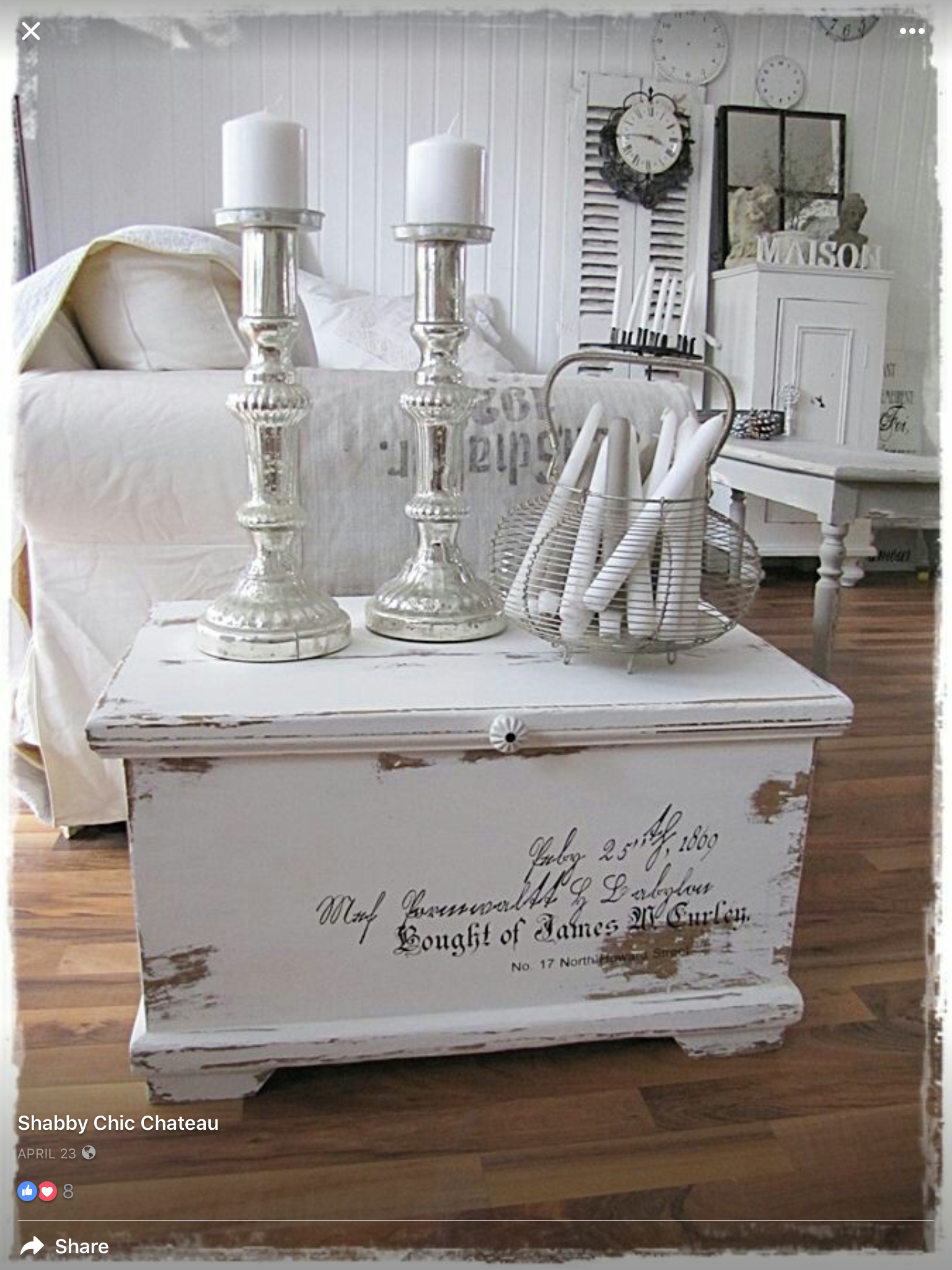 White shabby chic meble Pinterest