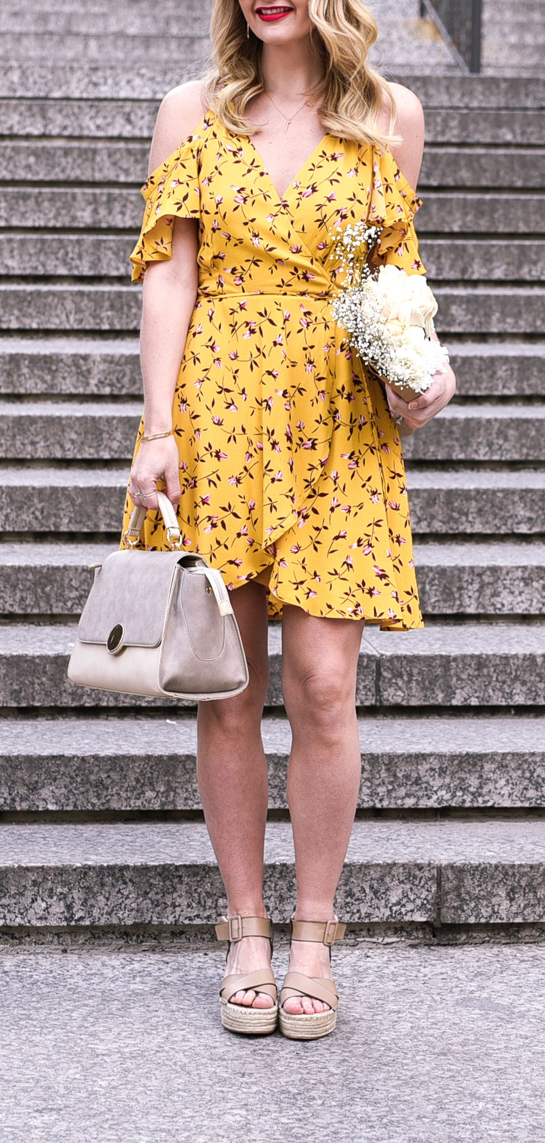 Mustard Yellow Floral Wrap Dress With Taupe Accessories Spring Style Summer Fashio Mustard Yellow Dresses Yellow Dress Summer Summer Fashion Dresses Casual [ 2262 x 1080 Pixel ]