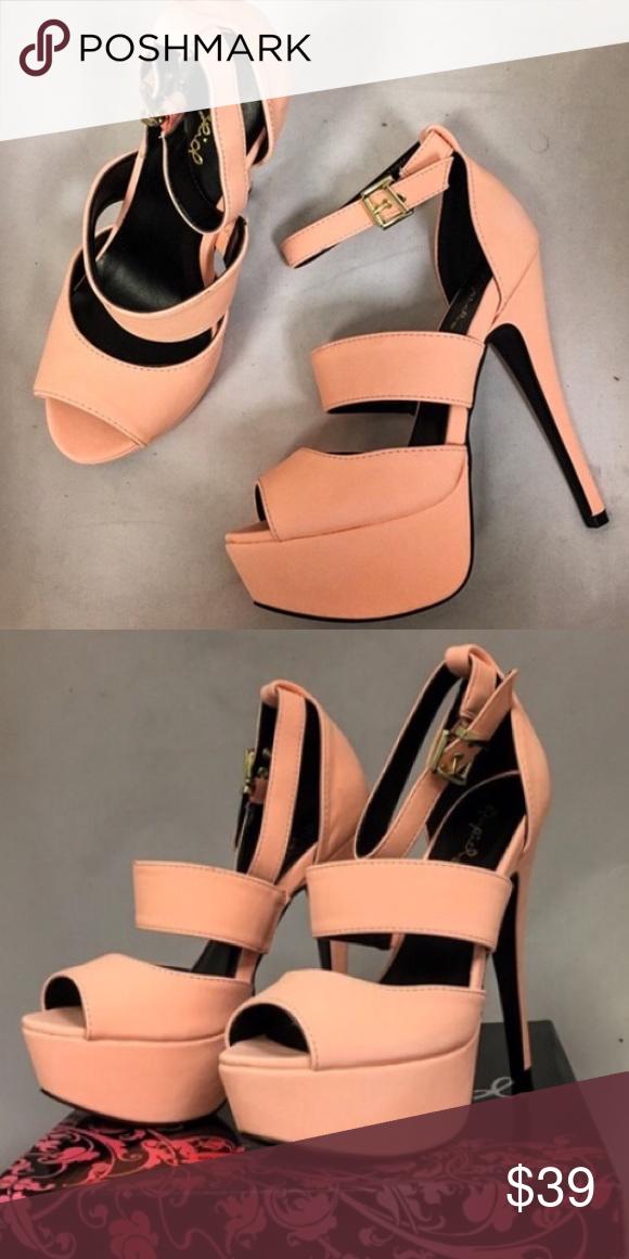 0cd33ba2e96 Qupid Peach Platform Strappy Heels Featuring a peep toe, a high heel ...