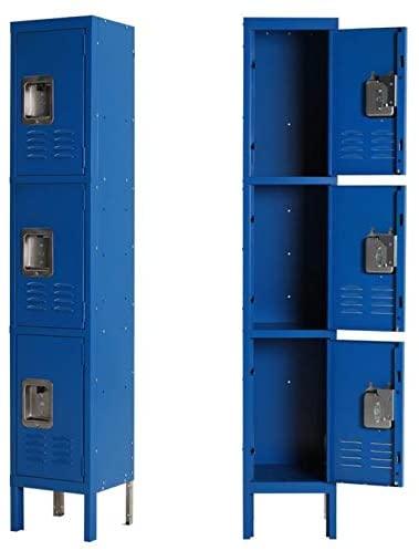 HOMEER Locker for Kids,Kids Locker for Bedroom Metal Storage Locker Blue