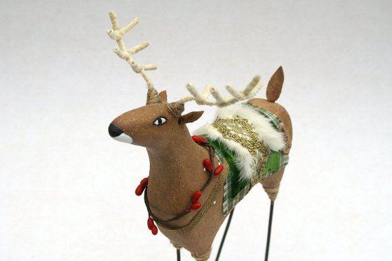 Stickleg Christmas Reindeer Holly Folk Art Art Christmas