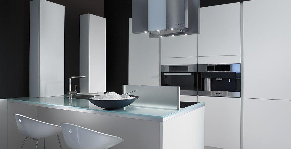 Schröder Küchen Küche mit Kochinsel Frost GL bianco Notre - küchen mit kochinsel