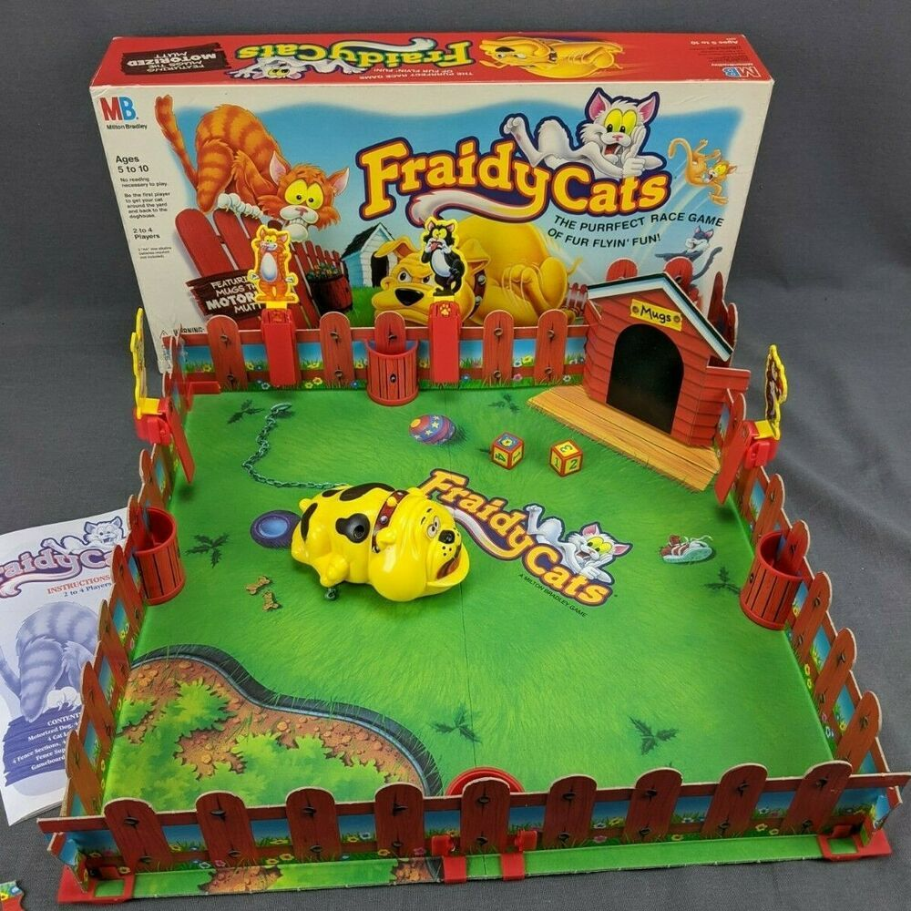 Vintage Fraidy Cats Board Game 1994 Milton Bradley Tested Family Fun 3d Complete Ebay Fraidy Cat Board Games Weird Toys