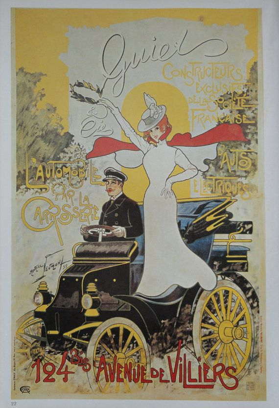 Vintage Poster, Advertisement for Electric Cars, Antique ...