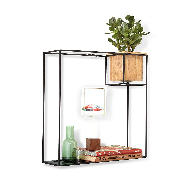 Umbra cubist floating shelf with builtin succulent planter