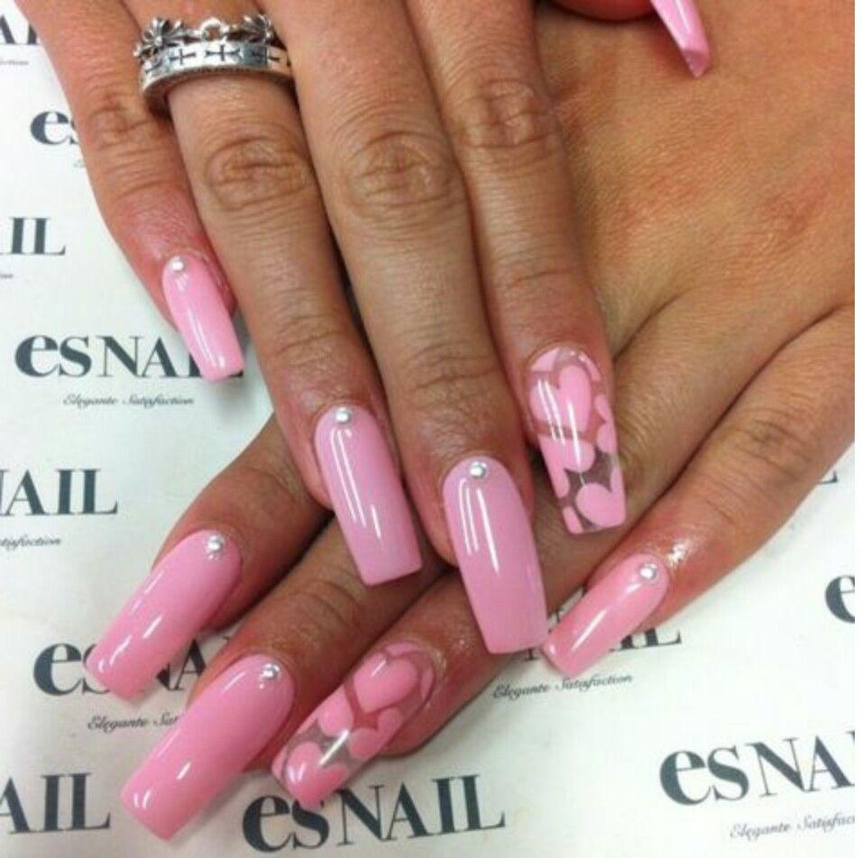 pastel pink nail design heart