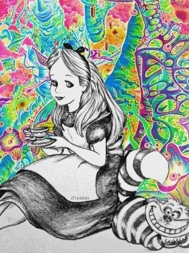 trippy alice in wonderland coloring