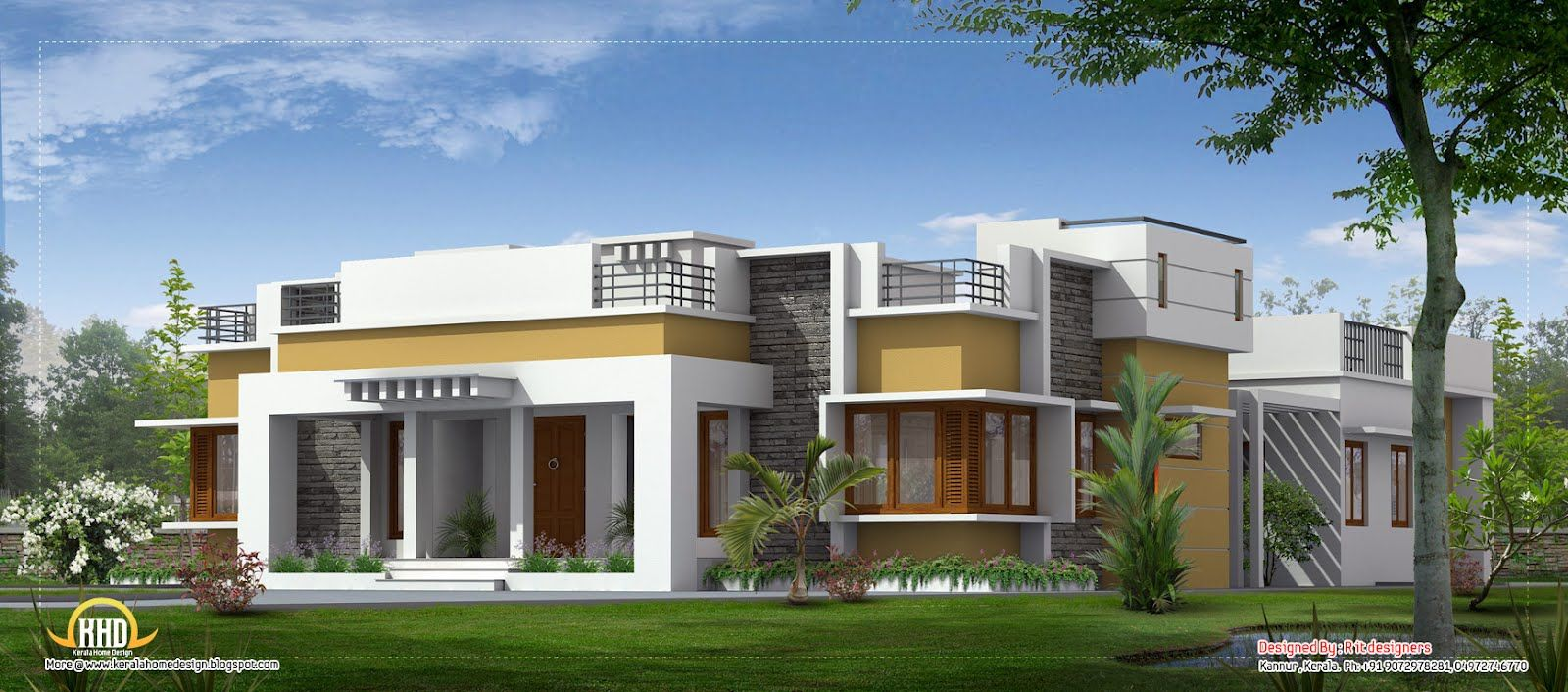 Single level designer home single floor house plans for Single floor house elevations indian style