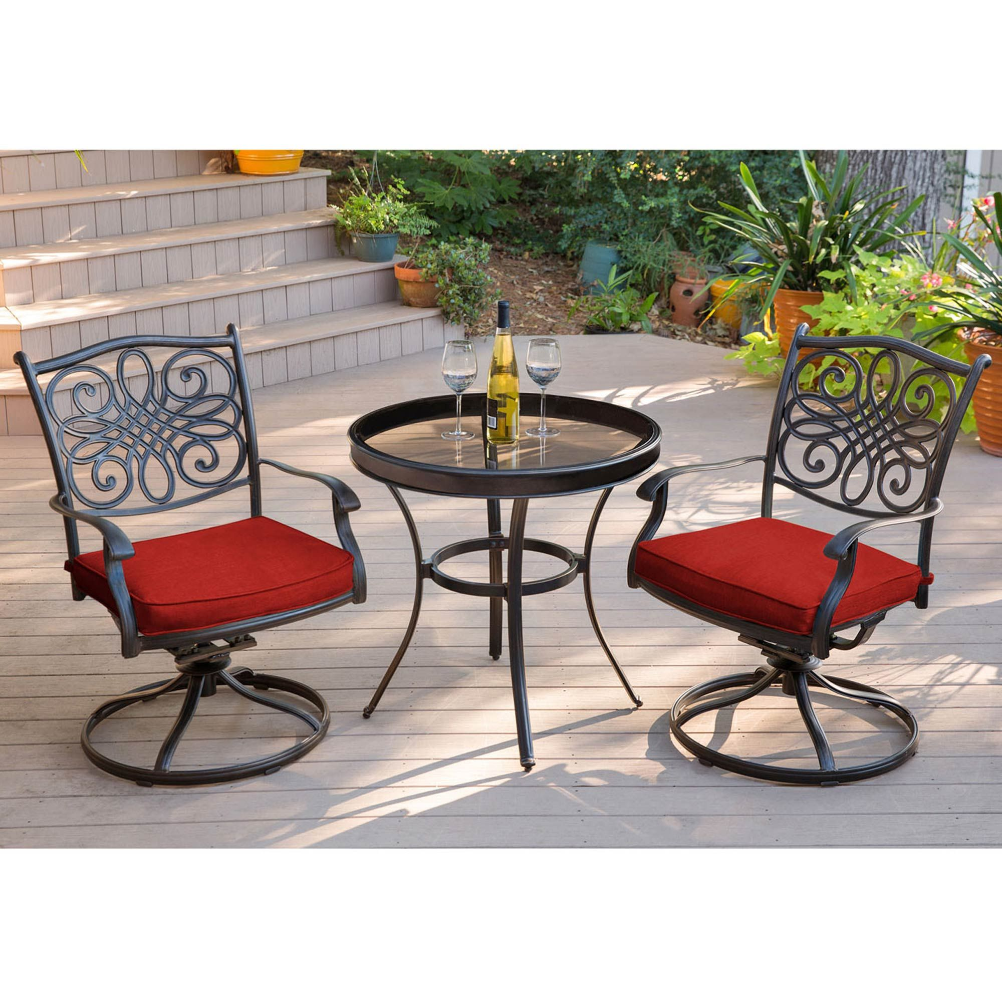Phenomenal Hanover Traditions 3 Pc Swivel Bistro Set With Glass Top Caraccident5 Cool Chair Designs And Ideas Caraccident5Info