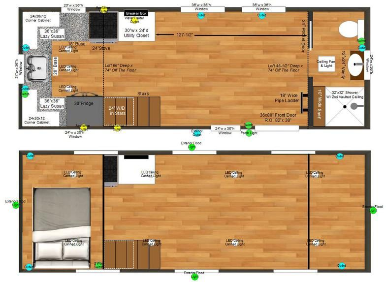 This may be the one I want...Upper Valley Tiny Homes. 8x24 Birchwood Tiny Home Plans X on pvc pipe playhouse plans, built-in furniture plans, house plans, floor plans,