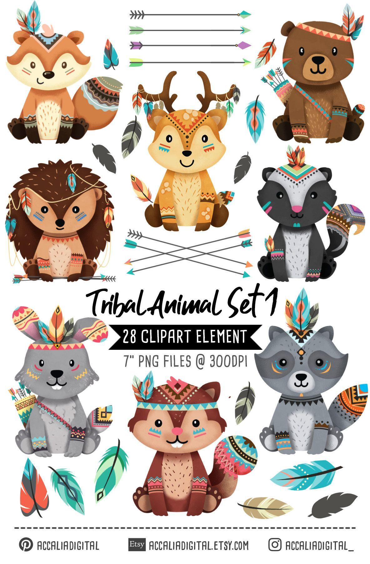 Woodland animals Clipart set 1, Tribal animal clip art