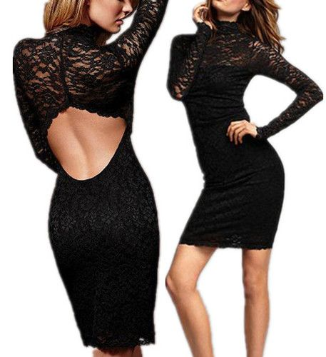 Black Long Sleeve Open Back Women Sexy Evening Party Cocktail Lace Mini Dress   eBay
