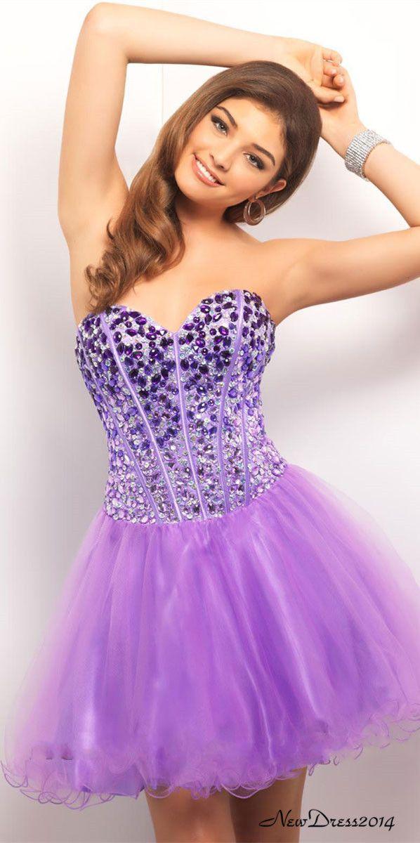 Nueva llegada de tul azul púrpura cuentas Mini pelota corta vestidos ...