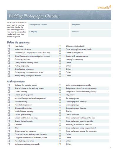 To Do List Photography Checklist Pdf Wedding Photo