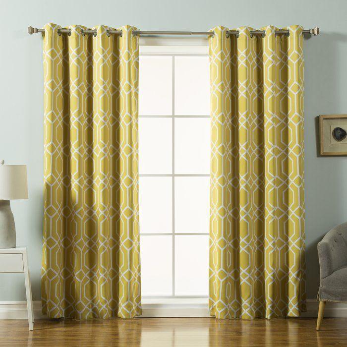 Geometric Trellis Semi Sheer Grommet Curtains Grommet