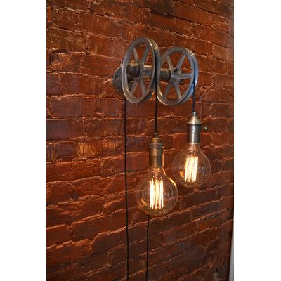West ninth vintage 2 light wall pulley light aloadofball Image collections