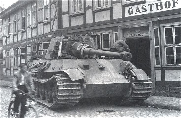Tiger II, s.PzAbt. 507, abandoned - March 1945.  Note the massive, 150 mm inclined at 50° glacis plate.