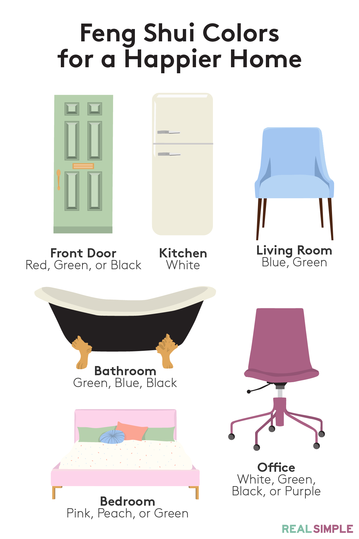 Try These Feng Shui Colors for a Happier Home | Learn how to add feng shui to your home with these designer approved interior design tips and tricks. ...