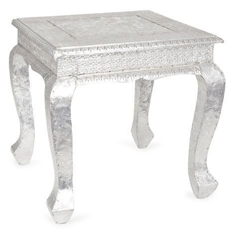 Small Metal And Wood Silver Table Zarahome