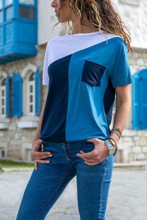 Kadın Lacivert-Mavi Cepli Bloklu Bluz #chiffonshorts