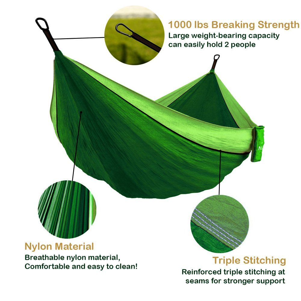 Backpacking Travel Equipment Kids Max 1000 lbs Breaking Capacity Two Carabiners Free Outdoor Indoor 2 Person Beach Accessories MalloMe Hammock Camping Portable Double Tree Hammocks