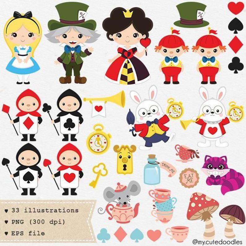 Alice In Wonderland Clip Art Alice In Wonderland Card And Etsy Alice In Wonderland Clipart Alice In Wonderland Cute Doodles