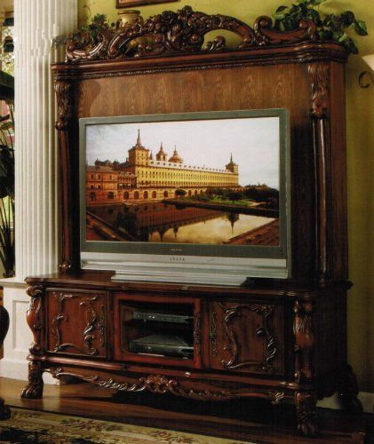 Traditional Style Flat Screen Tv Entertainment Center In Cherry Finish By Acme